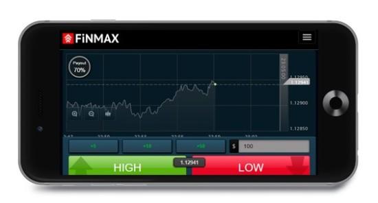 Mobile Plattform beim Broker Finmax für binäre Optionen