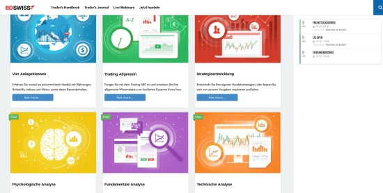 Trading Handbuch Bereich beim Broker BDSwiss zum lernen