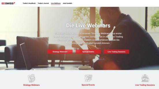 Trading Webinare beim Broker BDSwiss zum lernen