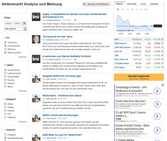 Analysen über Aktien auf der Seite von Investing